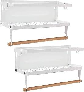 Kulmeo Spice Rack Magnetic Spice Rack White Paper Towel Holder Refrigerator Magnetic Shelves For Kitchen Fridge Spice Shelf With 4 Hooks 2 Pack (White)