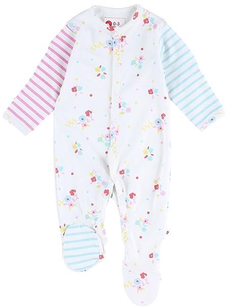 Piccalilly predna de dormir a pie algodón orgánico rosado y blanco ...
