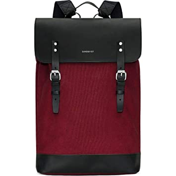 96b3c7a09 Sandqvist Grand Canvas Hege Burgundy Backpack SQA932: Amazon.co.uk: Luggage