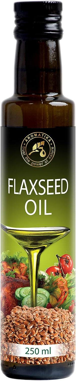 Aceite de Lino 250ml - 100% Puro - Prensado en Frío - Bélgica - Botella de Vidrio - Omega 3 6 - Cocina Saludable - Suplemento Nutricional Ideal - Flaxseed Oil - Ideal para Salad - Salsas - Panadería