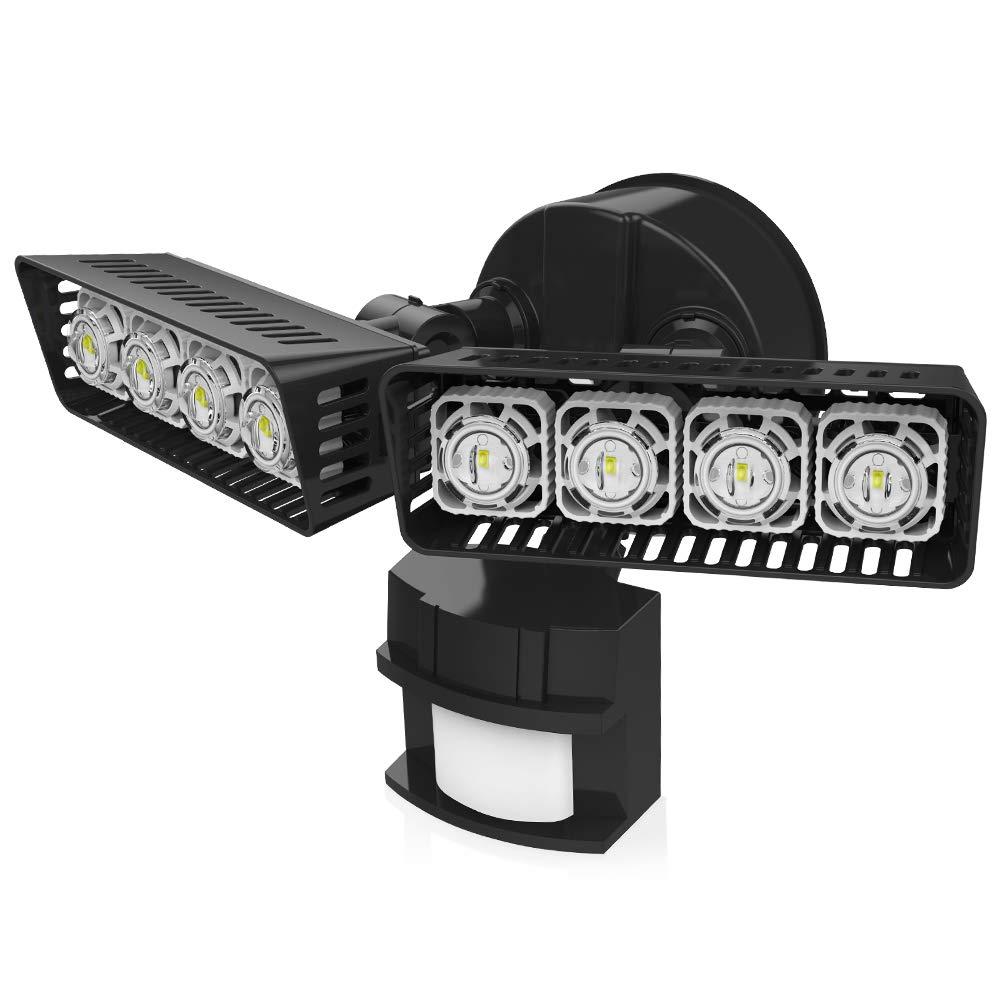 Upgraded SANSI LED Security Motion Sensor Outdoor Lights, 30W (250W Incandescent Equivalent) 3400lm, 5000K Daylight, Waterproof Floodlights, Black