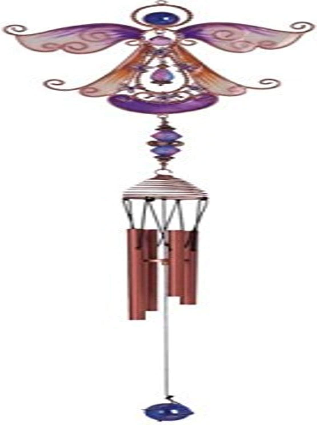 StealStreet SS-G-99890 Wind Chime Copper and Gem Angel Garden Decoration Hanging Porch Decor