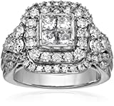 14k White Gold with Princess and Rounds Diamonds Quad Ring (3cttw, H-I Color, I1-I2 Clarity)