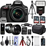 Nikon D3400 Digital SLR Camera + 18-55mm AF-P DX Nikkor VR + 2.2X Telephoto and 0.43X Macro Lens Kit + 32GB Memory + Bounce Swivel Flash + Tripod + Padded Case Bag + UV CPL FLD Filter Bundle + Remote