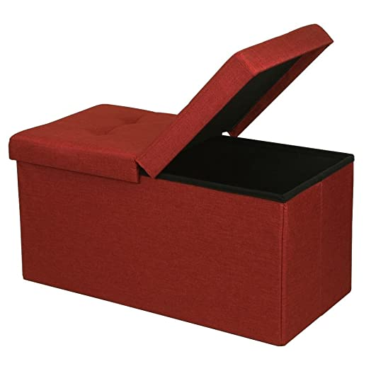 Otto Ben Folding Toy Box Chest with SMART LIFT Top, Upholstered Tufted Ottomans Bench Foot Rest for Bedroom, Ruby Red