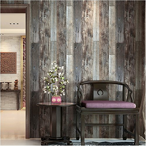 Roll Wood (HaokHome 5003 Weathered Faux Wood Plank Wallpaper Rolls Slategray/Brown Barnwood Wallpaper Murals Home Kitchen Bathroom Decoration 20.8