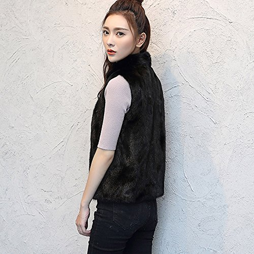 Vest Otoño Chaleco Sin Mujer Mangas ❤️ Sintética Invierno Gilet Longra Chaqueta Piel Moda Negro Negro Elegante 1qOgTn
