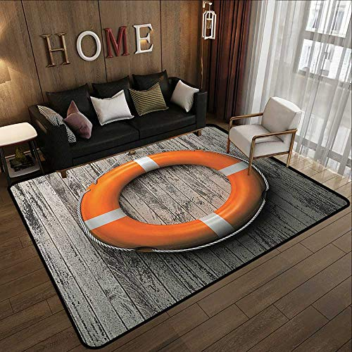 (Throw Rugs,Buoy Decor,Lifebuoy Attached to A Wooden Wall Hardwood Grunge Rustic Aged Look 71