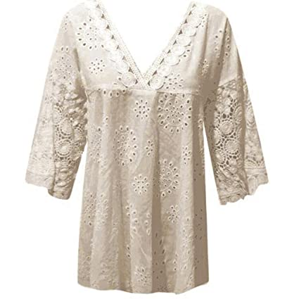 17f03a922fd1 Amazon.com: FACAIAFALO Tops Ladies Lace Top Half Sleeve Cotton Linen Hollow  Out Patchwork T-Shirt Blouse Tops Crocheted Openwork: Toys & Games