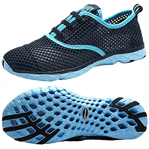 Aleader Women's Quick Drying Aqua Water Shoes, Blue 9 B(M) US - Mesh Water Shoes