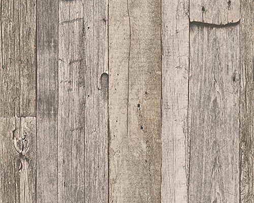 A.S. Création Tapete Dekora Natur, Mustertapete in Vintage-Holzoptik, beige, creme, schwarz, 959312