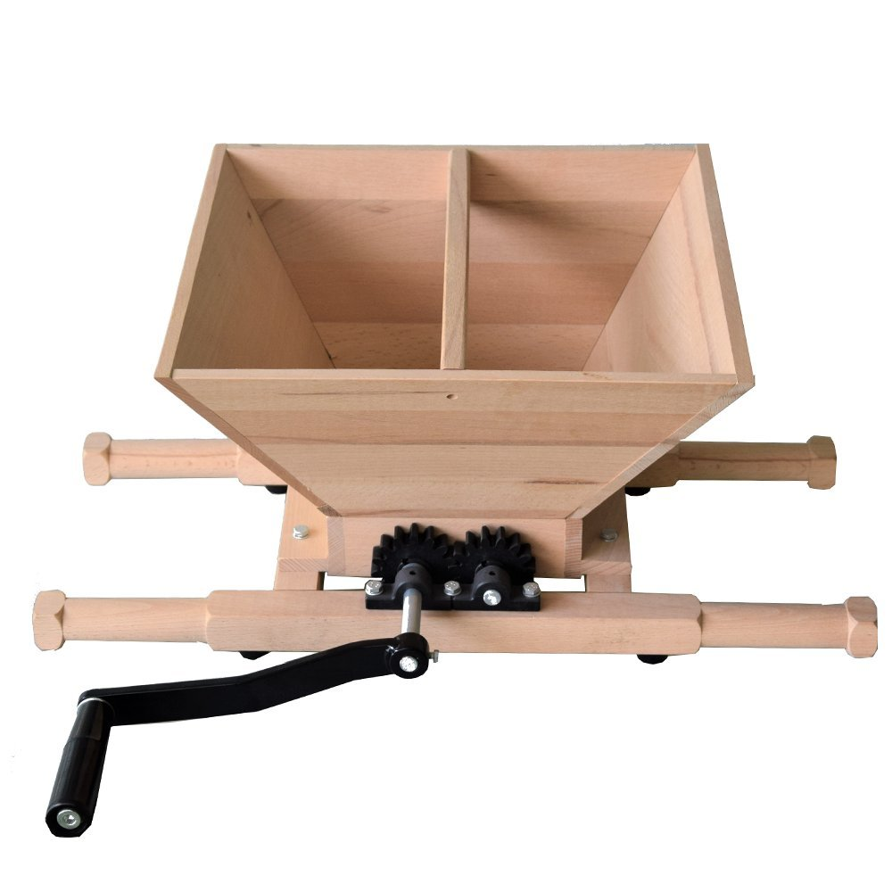 7L Apple Cider Wine Making Crusher, Stainless Steel/Wood (Wood)