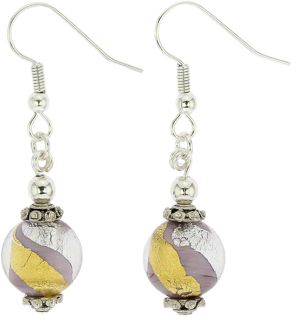 glassofvenice Antico tesoro bolas pendientes–de cristal de Murano–morado, dorado y plateado