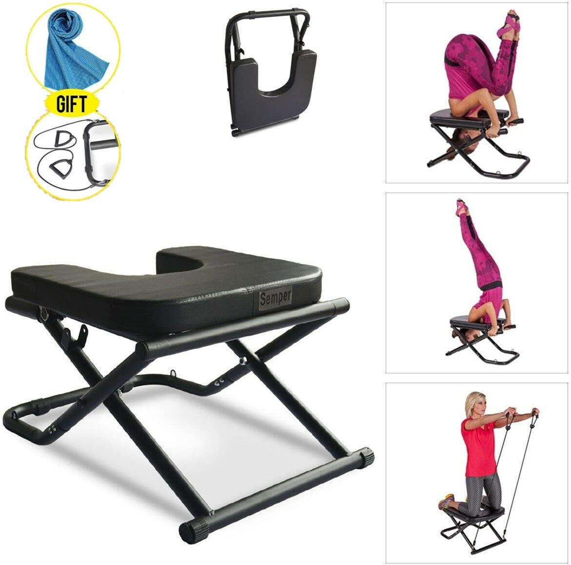 Apelila Yoga Chair Inversion Bench – Stand Yoga Chair Headstander for House, for Shoulderstand, Practice Head Stand, Headstand Bench w Bands and Cooling Towel