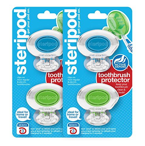 Steripod Clip-on Toothbrush Protector: 2 Crystal Clear Blue & 2 Crystal Clear Green (4 Total) ()