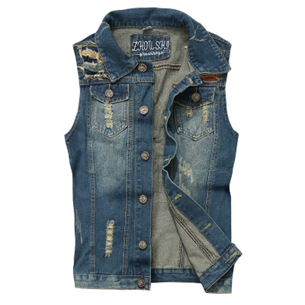 WCHUANG Men`s Retro Ripped Denim Jeans Vest Sleeveless Jacket
