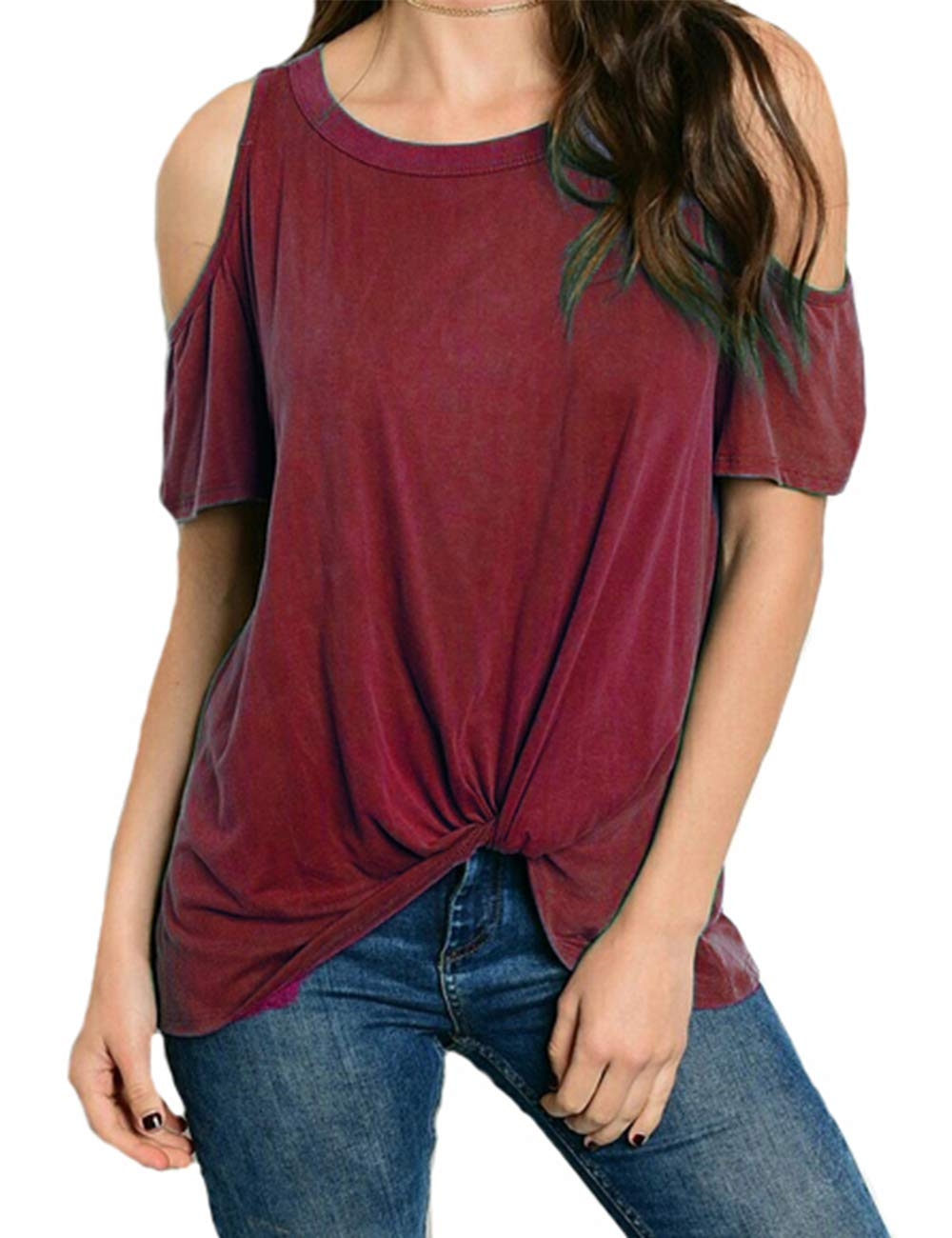 Eanklosco Women's Cold Shoulder Shirt Casual Short Sleeve T-Shirt Summer Twist Knot Front Tunic Tops (M, Wine Red)