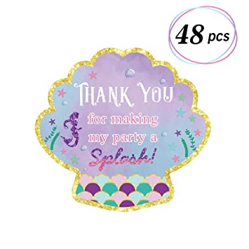 48pcs Mermaid Stickers Thank You Tags Goodie Bags Labels Under the Sea  Themed Party Favor