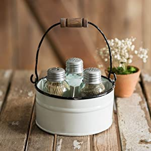 Ctw Home Collection Round Bucket Salt Pepper and Toothpick Caddy - White