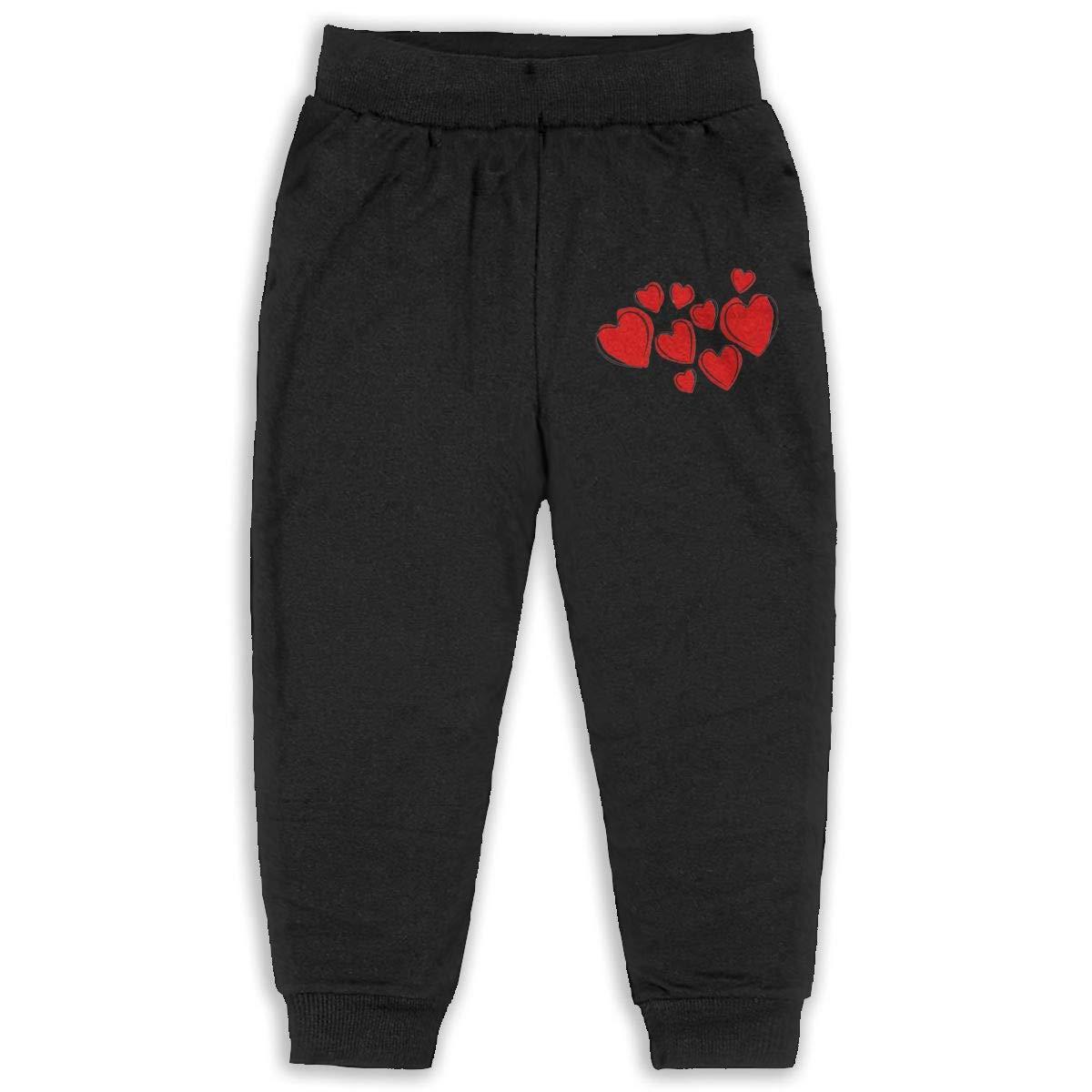 LFCLOSET Valentines Day Hearts Pattern Children Active Jogger Sweatpants Basic Elastic Sport Pants Black