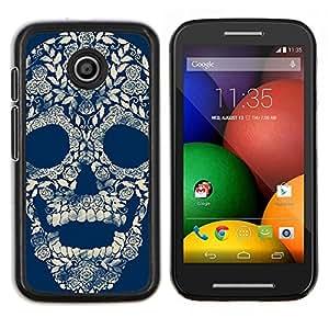 LECELL--Funda protectora / Cubierta / Piel For Motorola Moto E -- Floral retro del cráneo Blue Rose --
