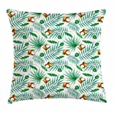 Ambesonne Watercolor Throw Pillow Cushion Cover, Coconut Fruit Exotic Nature Palm Tree Leaves Aloha Hawaii Polynesian Food, Decorative Square Accent Pillow Case, 26 X 26 inches, Green Pale Brown