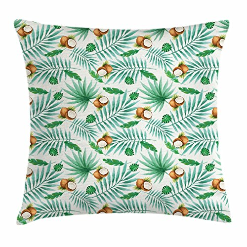Ambesonne Watercolor Throw Pillow Cushion Cover, Coconut Fruit Exotic Nature Palm Tree Leaves Aloha Hawaii Polynesian Food, Decorative Square Accent Pillow Case, 26 X 26 inches, Green Pale Brown by Ambesonne