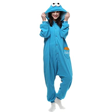 c1ae10fe2f71 Amazon.com  Cookie Monster and Elmo Adult Onesie. Pajama Costume for  Teenagers