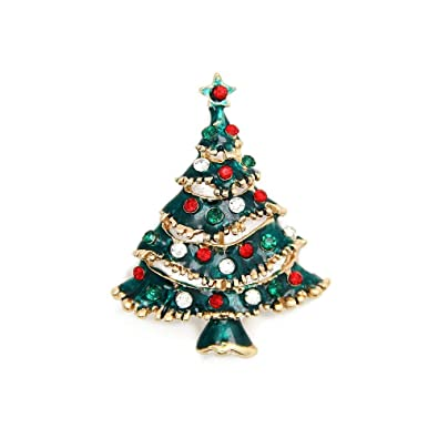 Christmas Brooch Pin Vintage Christmas Tree Pin Holiday Brooch ...