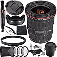 Canon EF 17-40mm f/4L USM Lens + 77mm Multicoated UV Filter + LENS CAP 77MM + 77mm Lens Hood + SLR Lens Pouch + Lens Pen Cleaner + Microfiber Cleaning Cloth + Lens Cap Keeper Bundle