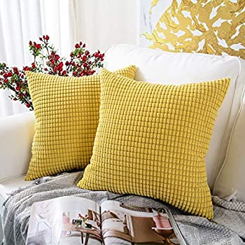 MERNETTE Pack of 2, Corduroy Soft Decorative Square Throw Pillow Cover Cushion Covers Pillowcase, Home Decor Decorations for Sofa Couch Bed Chair 18x18 Inch/45x45 cm (Granules Yellow)