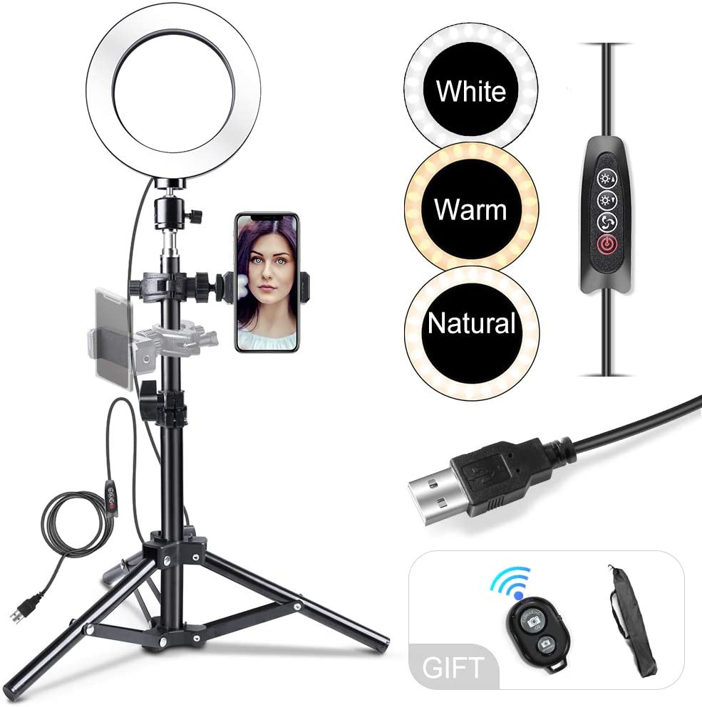 DLMPT 6//10 Selfie Ring Light Dimmable 3 Light Modes 2700-6500K Color Temperature Ringlight Make Up Light for Photography Makeup Video Laptop YouTube