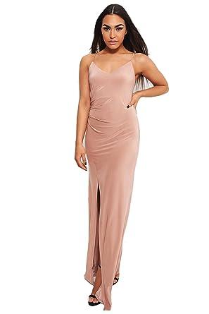 8a744ed79de Cala High Split Nude Maxi Dress 14  Amazon.co.uk  Clothing