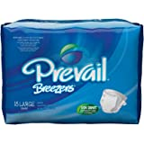 Prevail Breezers Ultimate Absorbency Incontinence Briefs, Large, 18-Count