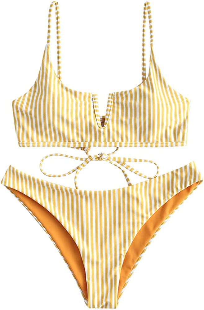 ZAFUL Women's V-Wired Striped Reversible Two Piece Bikini Set Strappy Swimsuit