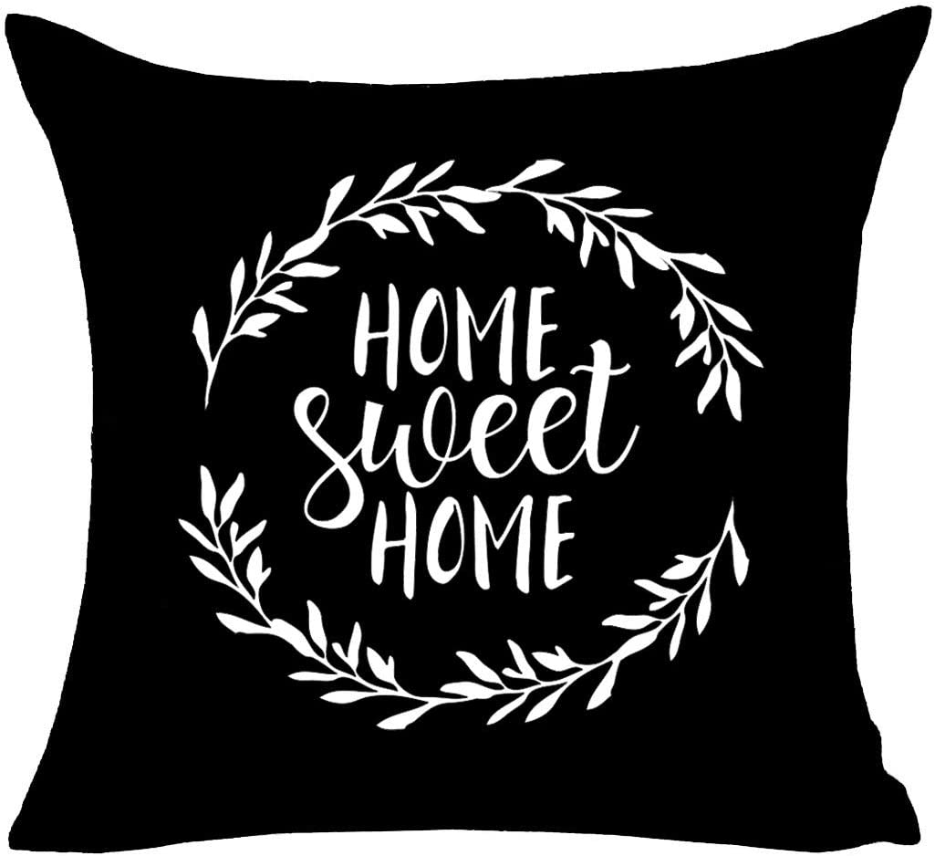 MFGNEH Home Sweet Home Quotes with Garland Farmhouse Pillow Covers 16x16 Inch Home Decor Throw Pillow Case Cushion Cover for Sofa Couch,Black