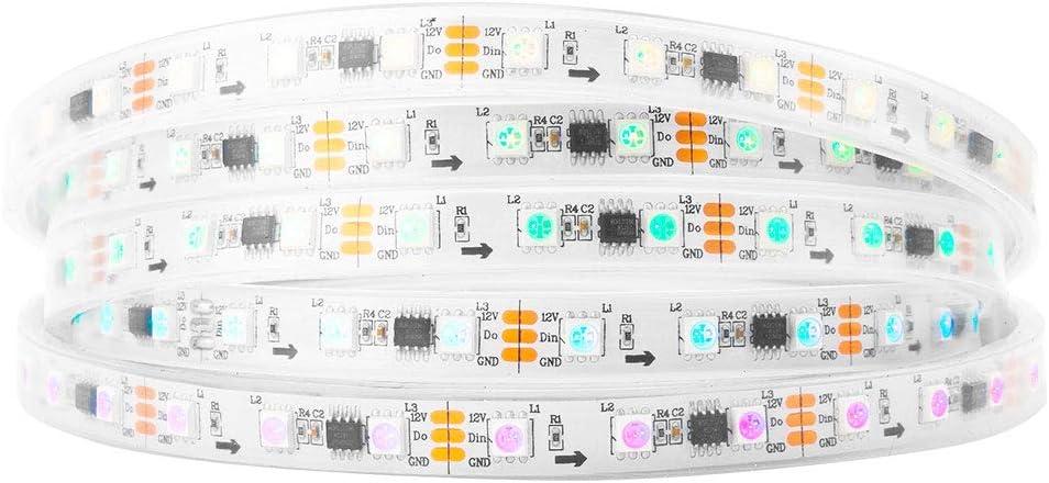 BTF-LIGHTING WS2811 IC=RGB IC Addressable Full Color LED Strip 16.4FT 60LEDs/m 20Pixels/m 300LEDs 100pixels IP67 Waterproof White PCB Flexible DC12V Chasing Effect for Bedroom, Desk, Home Decoration