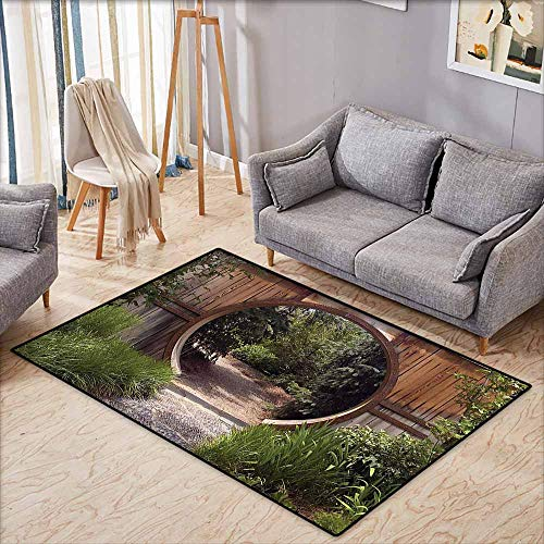 """Price comparison product image Kids Rug, Japanese Decor Collection, Authentic Circle Rustic Doorway Gate Opening to National Park Sublime Habitat Image, Children Crawling Bedroom Rug, 4'11""""x6'10"""", Green Brown"""