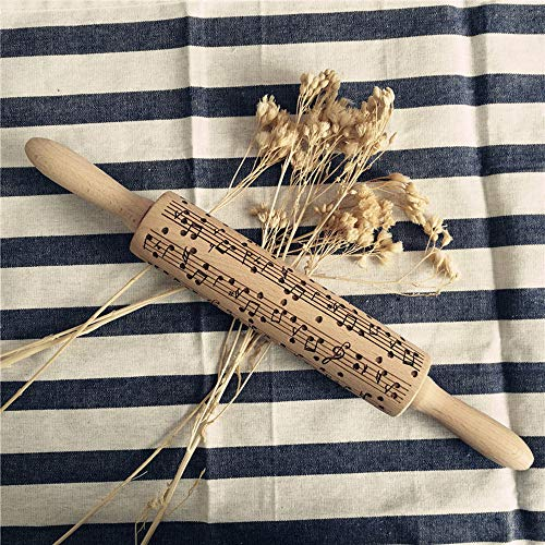 - 38cm/15'' Christmas Rolling Pin Non-Stick Musical Note Embossed Rolling Pin Christmas Wooden Rooling Pins for Baking Cookie 1PC (Yellow)