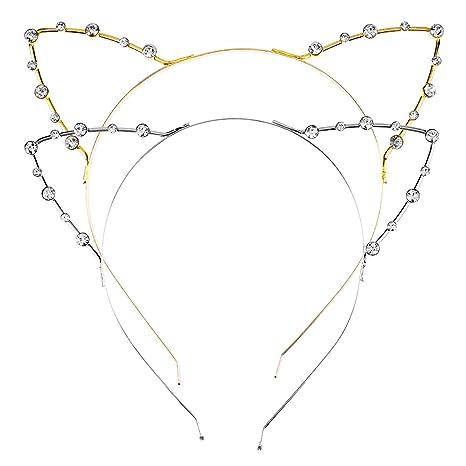 Diademas Metálicas Orejas de Gato de Diamante Cristal de Imitación, 2 Piezas, Dorado y