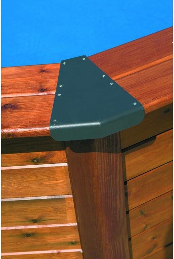 GRE - Piscina circular modelo ISLAND con revestimiento de madera ...
