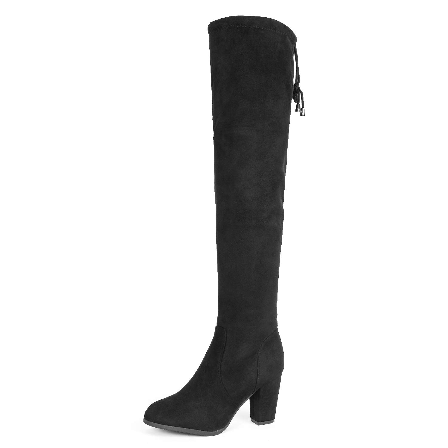 DREAM PAIRS Highleg Women's Thigh High Fashion Over The Knee Drawstring Strech Block Mid Heel Boots Black-SZ-8.5 by DREAM PAIRS