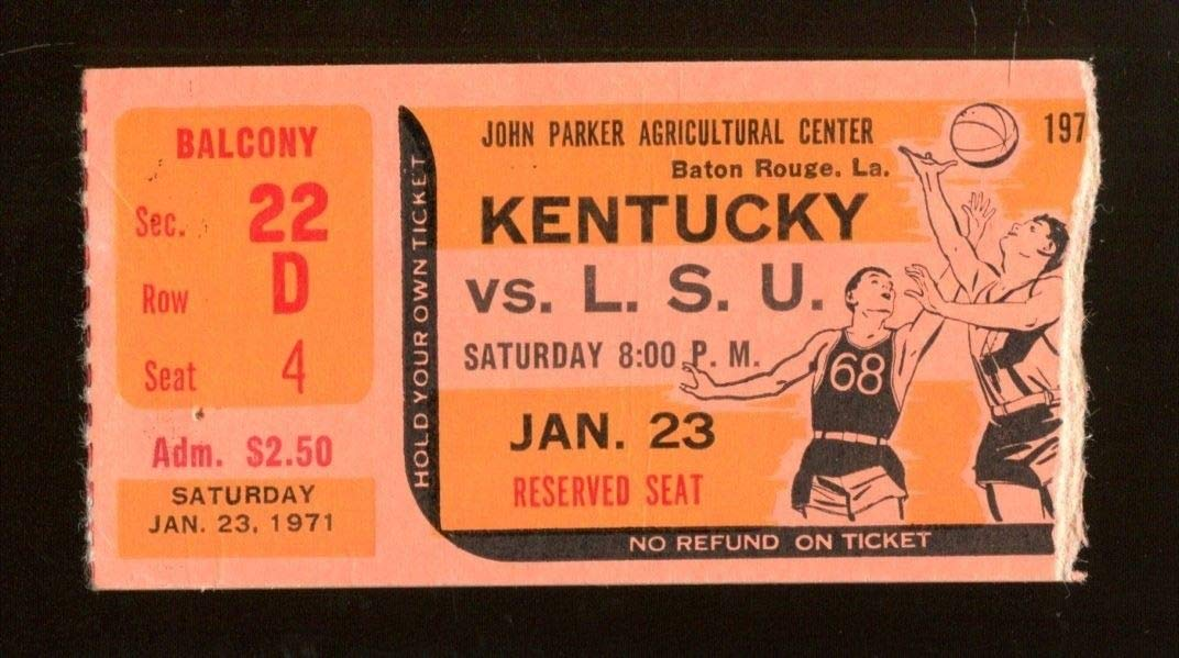 1971 Kentucky v LSU Basketball Ticket 1/23 Adolph Rupp Ex/MT 43579