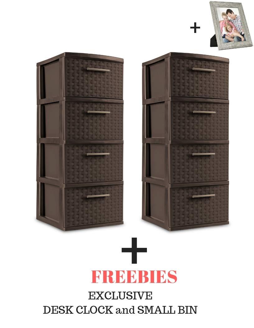 fortunershop Drawer Storage Weave Cart Espresso Plastic Storage Box Organizer (Espresso (Weave Tower), 4 Drawer- 2Pack + Freebies)