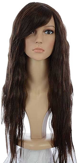 29318ff85c8fd Amazon.com   Brunette Avril Lavigne Style Long Crimped Wig