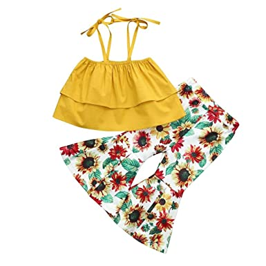 3f4c81b90c11b Toddler Girls Summer Solid Yellow Strap Tops+Floral Sunflower Print Flare  Pants Outfits Clothes (
