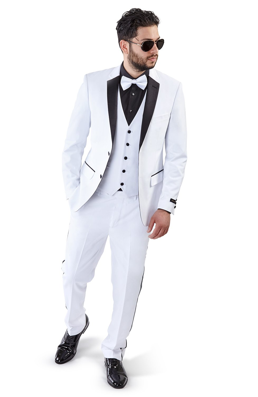 Slim Fit Tuxedo Suit 2 Button 3 Piece Vested Satin Notch Lapel 4030 (42 Short 36 Waist 30 Length, White)