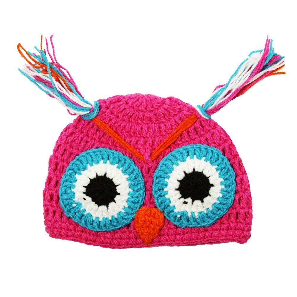 Little Girls Hot Pink Owl Beanie Tassels Crochet Hat 2-4 Years