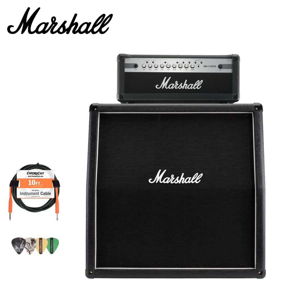 Marshall MX412A Guitar Speaker Cabinet and MG100HCFX Amp with Accessories
