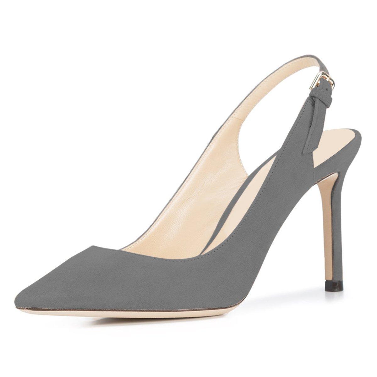 NJPU Women Pointed Toe Slingback Pumps Stiletto High Heels Office Shoes with Buckle B07C2JVSR2 6 B(M) US|Grey